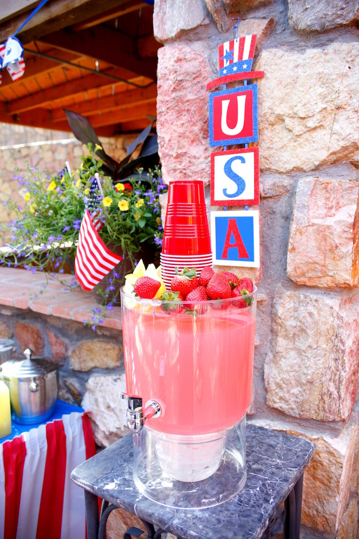 Beverage table from a Patriotic Red, White, and Blue Barbecue on Kara's Party Ideas | KarasPartyIdeas.com (19)