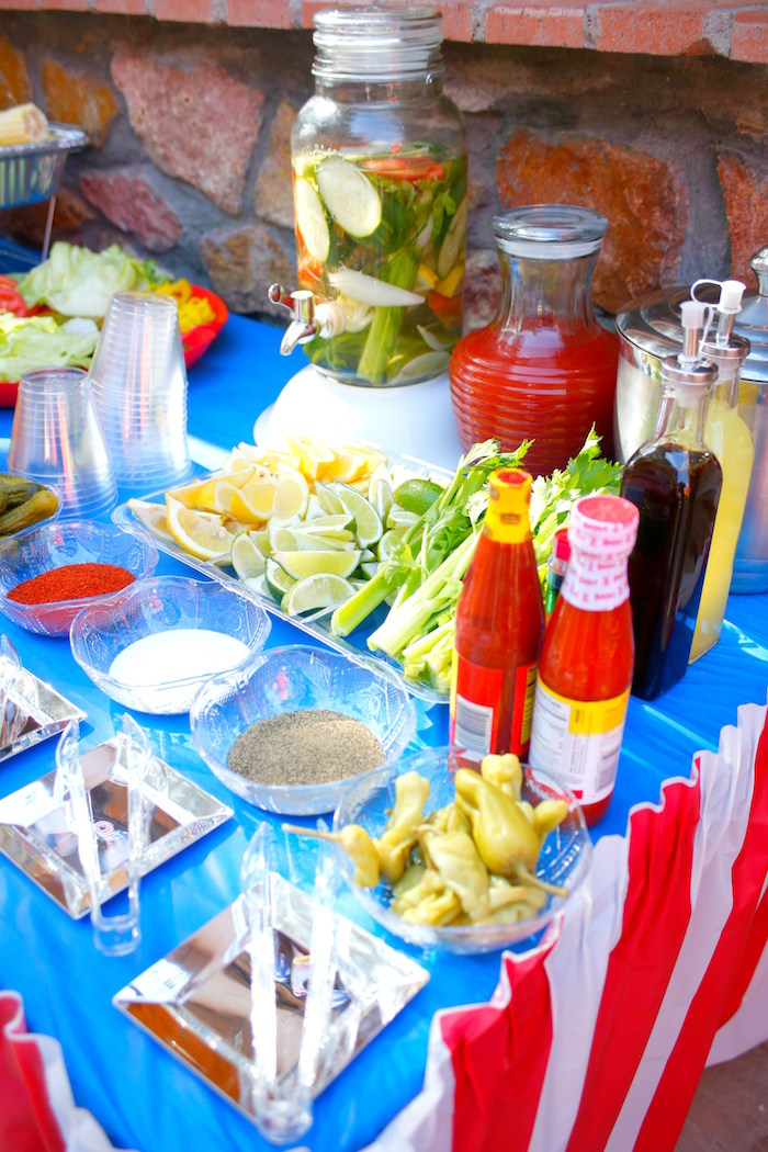 Food table from a Patriotic Red, White, and Blue Barbecue on Kara's Party Ideas | KarasPartyIdeas.com (18)