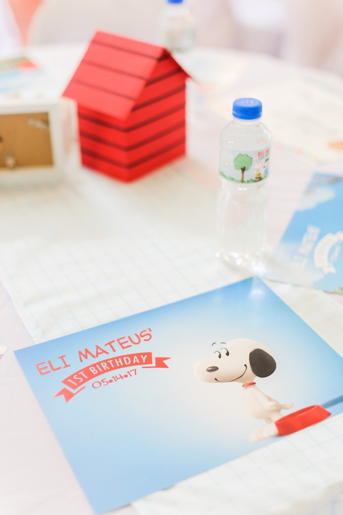 Place setting from a Peanuts + Snoopy Birthday Party on Kara's Party Ideas | KarasPartyIdeas.com (31)