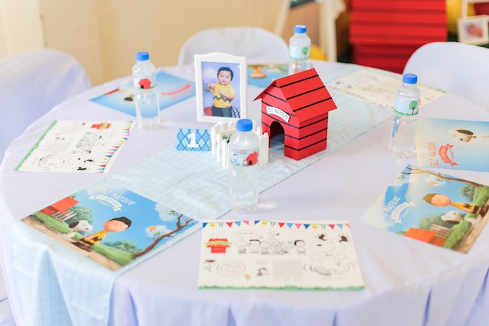Guest table from a Peanuts + Snoopy Birthday Party on Kara's Party Ideas | KarasPartyIdeas.com (29)