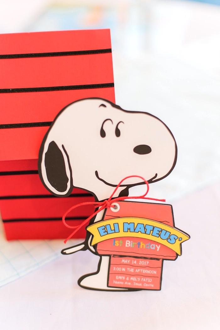 Snoopy Party Invite from a Peanuts + Snoopy Birthday Party on Kara's Party Ideas | KarasPartyIdeas.com (27)