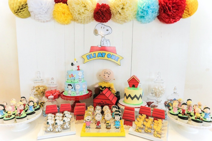 Dessert table from a Peanuts + Snoopy Birthday Party on Kara's Party Ideas | KarasPartyIdeas.com (25)
