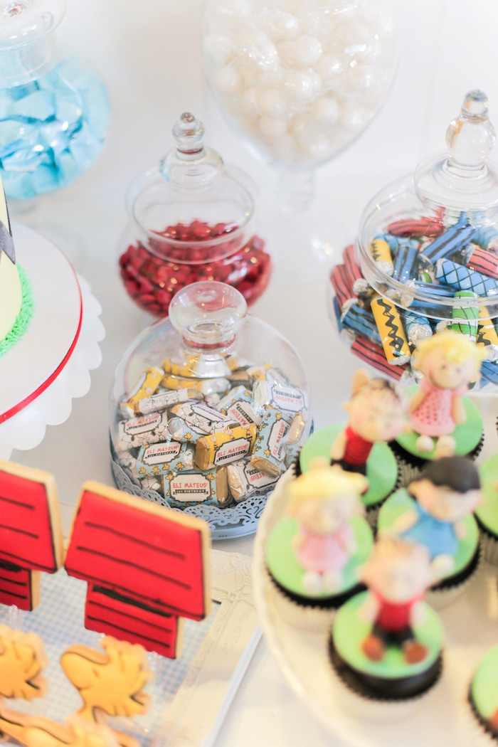 Candy-filled apothecary jars from a Peanuts + Snoopy Birthday Party on Kara's Party Ideas | KarasPartyIdeas.com (24)