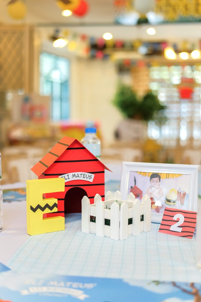 Guest table centerpieces from a Peanuts + Snoopy Birthday Party on Kara's Party Ideas | KarasPartyIdeas.com (20)