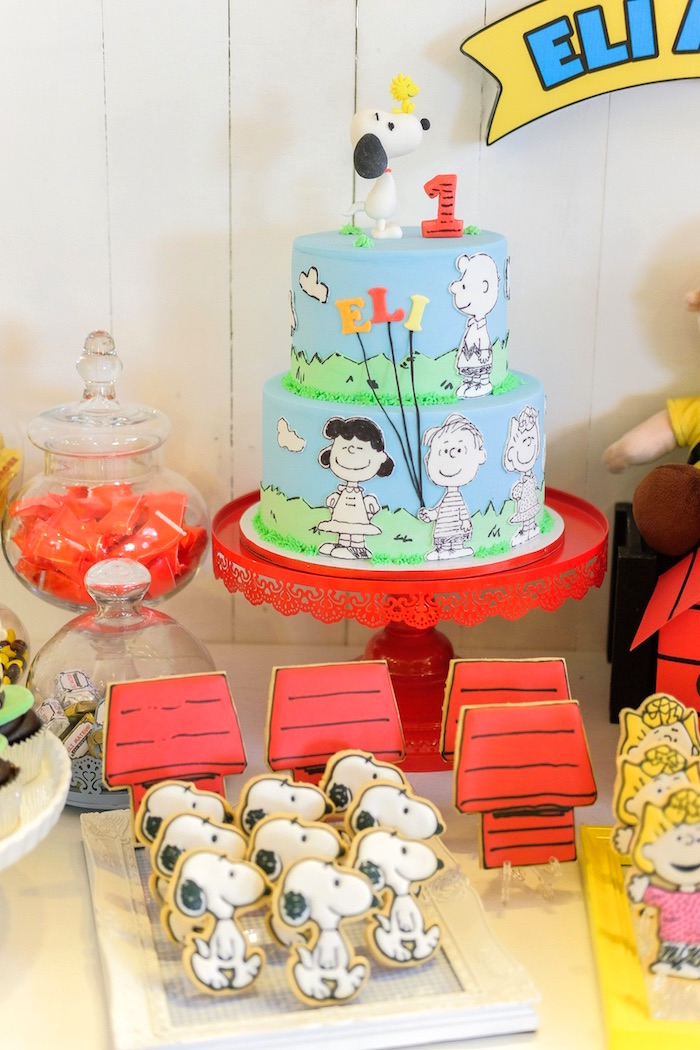 Cakescape from a Peanuts + Snoopy Birthday Party on Kara's Party Ideas | KarasPartyIdeas.com (15)
