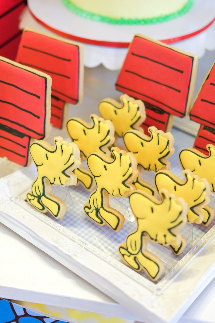 Woodstock cookies from a Peanuts + Snoopy Birthday Party on Kara's Party Ideas   KarasPartyIdeas.com (11)