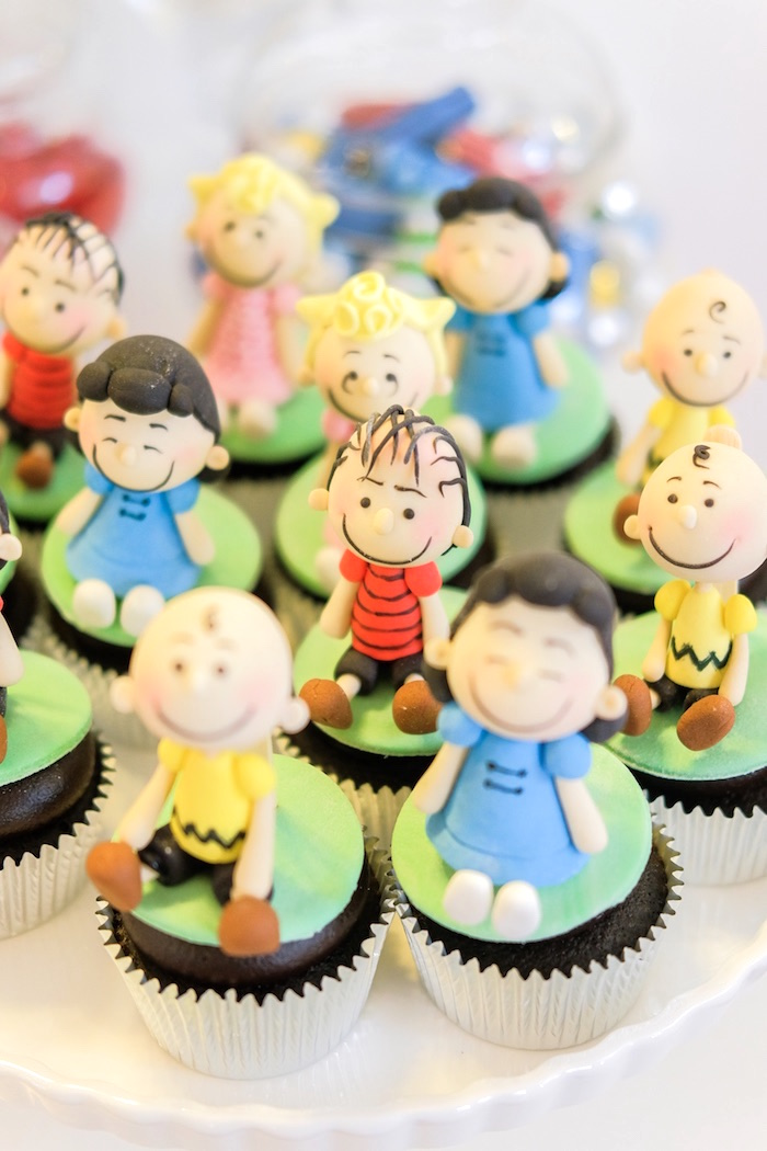 Peanuts cupcakes from a Peanuts + Snoopy Birthday Party on Kara's Party Ideas | KarasPartyIdeas.com (10)