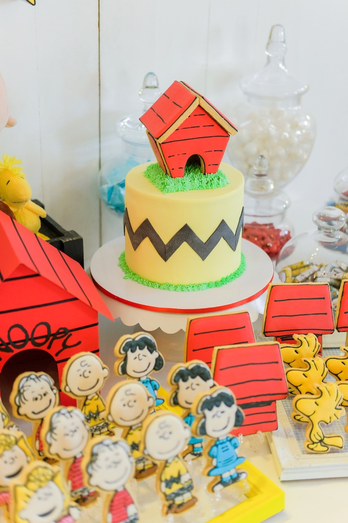 Cakescape from a Peanuts + Snoopy Birthday Party on Kara's Party Ideas | KarasPartyIdeas.com (9)