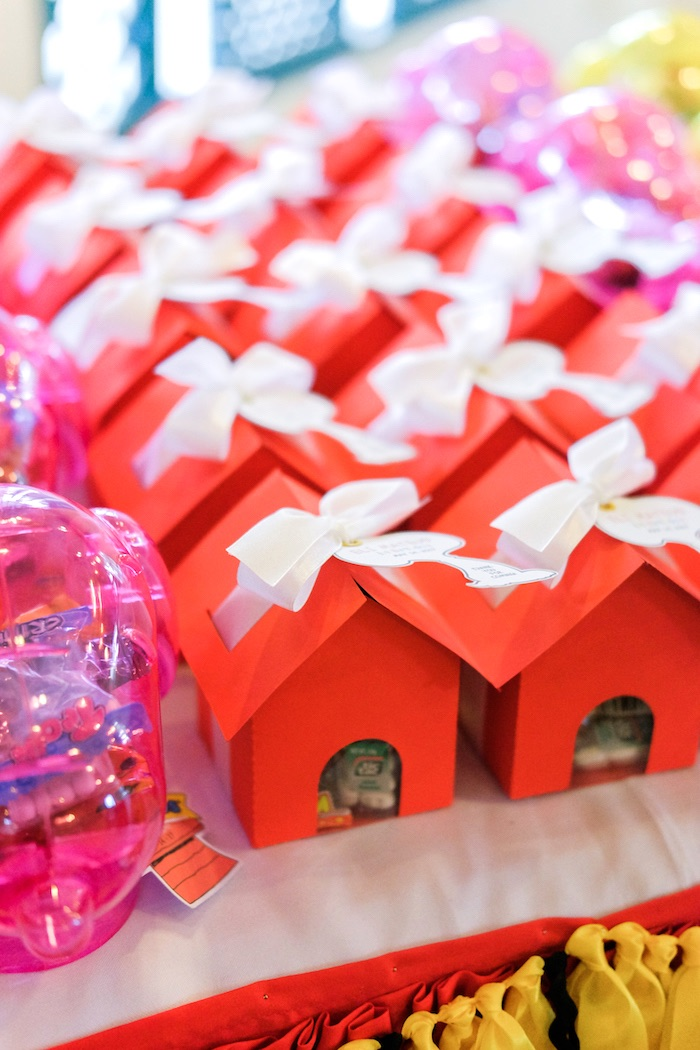 Snoopy house favor boxes from a Peanuts + Snoopy Birthday Party on Kara's Party Ideas | KarasPartyIdeas.com (6)