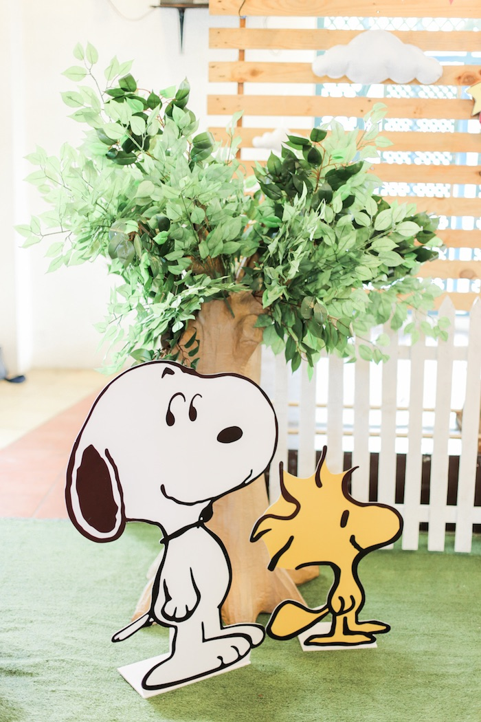 Snoopy & Woodstock standees from a Peanuts + Snoopy Birthday Party on Kara's Party Ideas | KarasPartyIdeas.com (36)