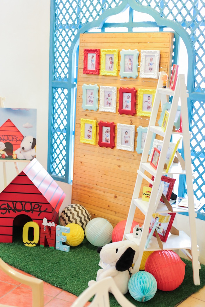 Photo wall from a Peanuts + Snoopy Birthday Party on Kara's Party Ideas | KarasPartyIdeas.com (33)