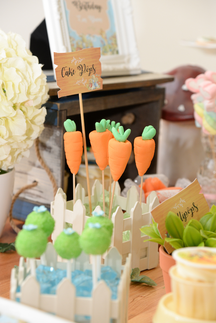 Carrot cake pops from a Peter Rabbit Garden Birthday Party on Kara's Party Ideas | KarasPartyIdeas.com (11)