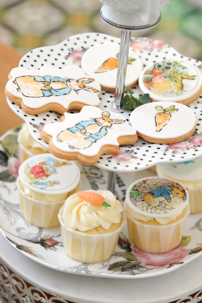 Peter Rabbit Cookies + Cupcakes from a Peter Rabbit Garden Birthday Party on Kara's Party Ideas | KarasPartyIdeas.com (7)