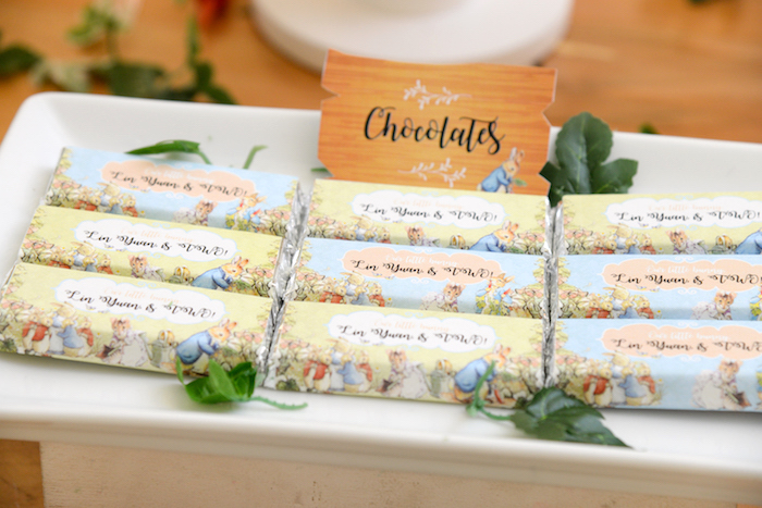 Peter Rabbit Chocolates from a Peter Rabbit Garden Birthday Party on Kara's Party Ideas | KarasPartyIdeas.com (6)