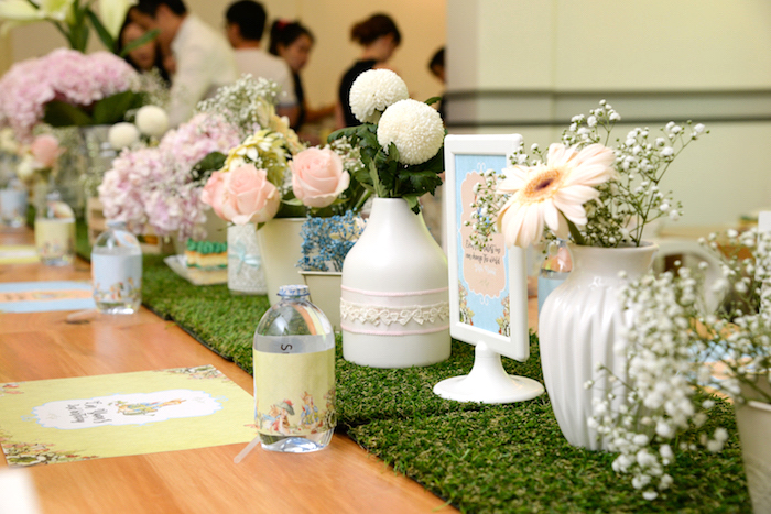 Guest table from a Peter Rabbit Garden Birthday Party on Kara's Party Ideas | KarasPartyIdeas.com (22)