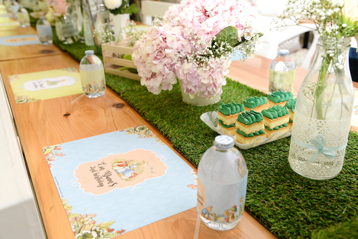 Place setting from a Peter Rabbit Garden Birthday Party on Kara's Party Ideas | KarasPartyIdeas.com (20)