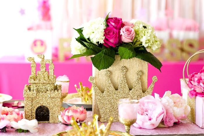 Guest table centerpieces from a Pink & Gold Princess Party on Kara's Party Ideas | KarasPartyIdeas.com (5)