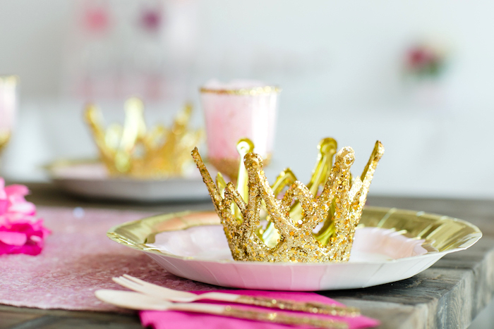 Crown place setting from a Pink & Gold Princess Party on Kara's Party Ideas | KarasPartyIdeas.com (15)
