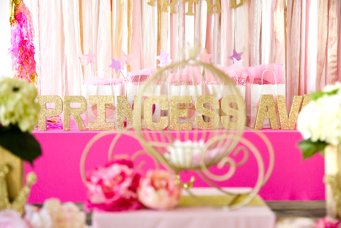 Favor table from a Pink & Gold Princess Party on Kara's Party Ideas | KarasPartyIdeas.com (13)