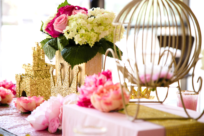 Blooms & centerpieces from a Pink & Gold Princess Party on Kara's Party Ideas | KarasPartyIdeas.com (12)