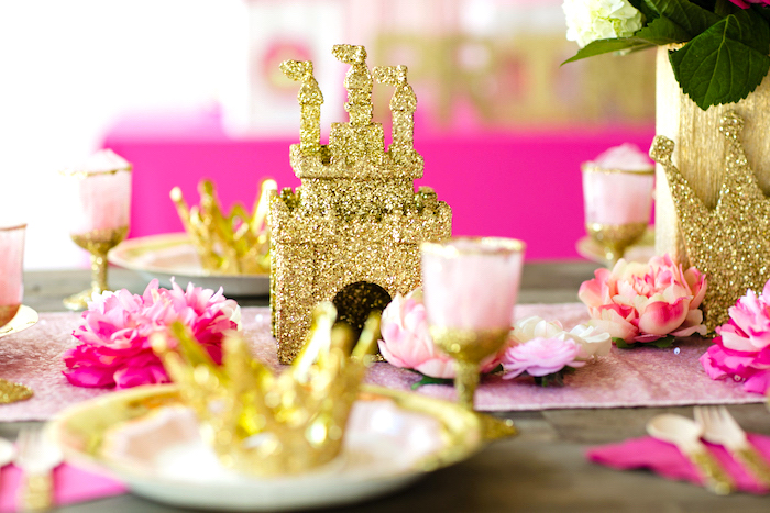 Guest table decor from a Pink & Gold Princess Party on Kara's Party Ideas | KarasPartyIdeas.com (10)