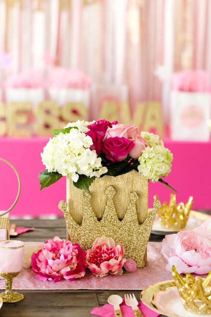 Blooms from a Pink & Gold Princess Party on Kara's Party Ideas | KarasPartyIdeas.com (9)
