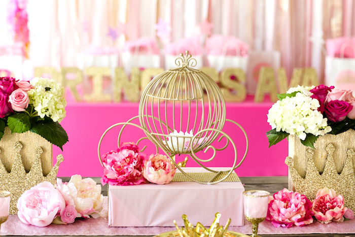 Wire carriage centerpiece from a Pink & Gold Princess Party on Kara's Party Ideas | KarasPartyIdeas.com (8)