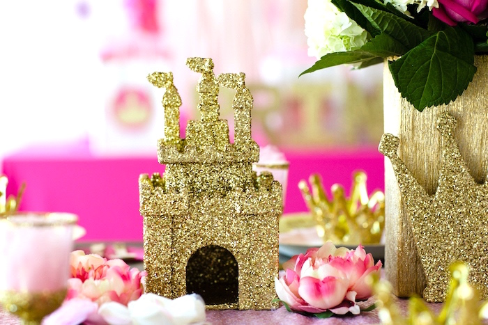 Glitter castle centerpiece from a Pink & Gold Princess Party on Kara's Party Ideas | KarasPartyIdeas.com (7)