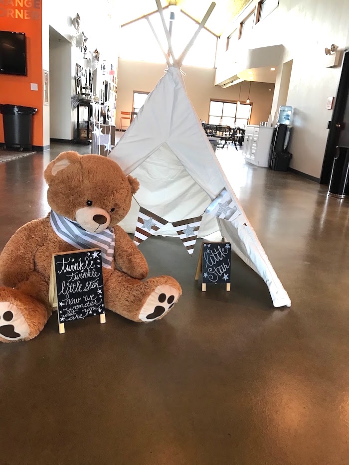 Plush bear and teepee from a Rustic Twinkle Star Gender Reveal Baby Shower on KARA'S PARTY IDEAS | KarasPartyIdeas.com (36)