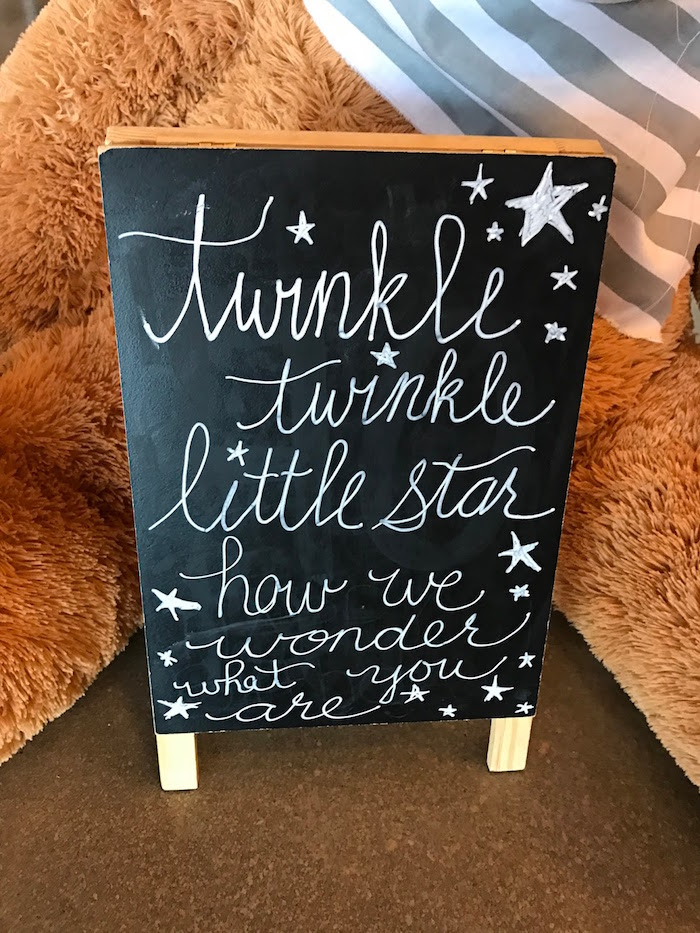 Chalkboard easel from a Rustic Twinkle Star Gender Reveal Baby Shower on KARA'S PARTY IDEAS | KarasPartyIdeas.com (35)