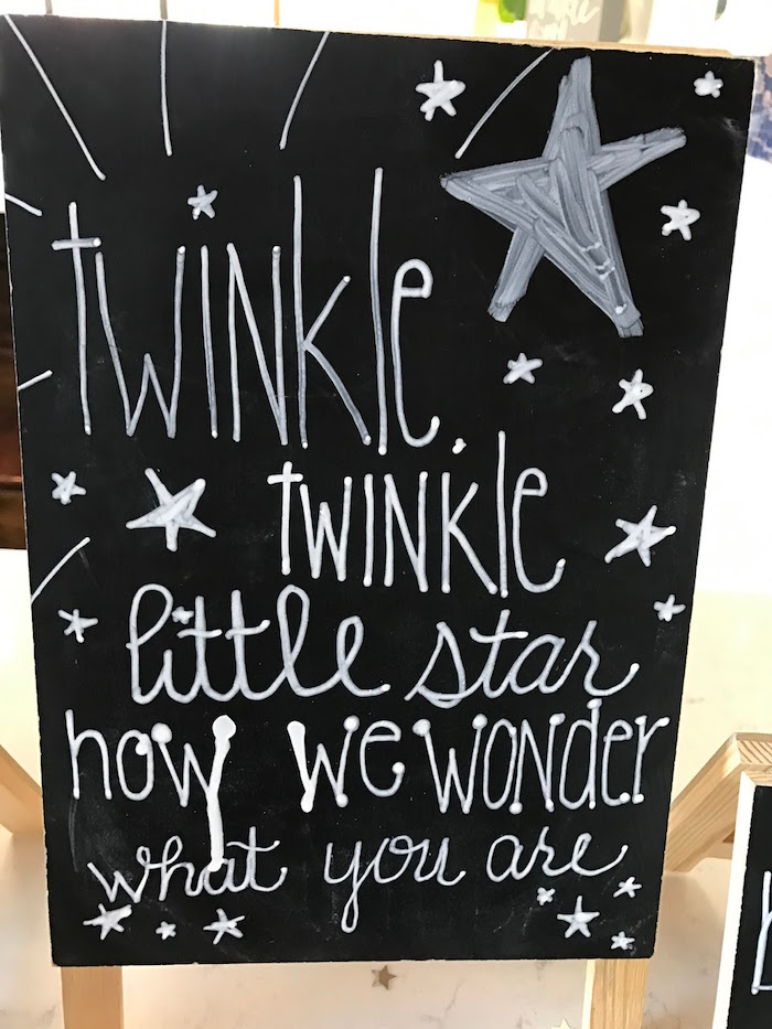 Chalkboard sign from a Rustic Twinkle Star Gender Reveal Baby Shower on KARA'S PARTY IDEAS | KarasPartyIdeas.com (30)