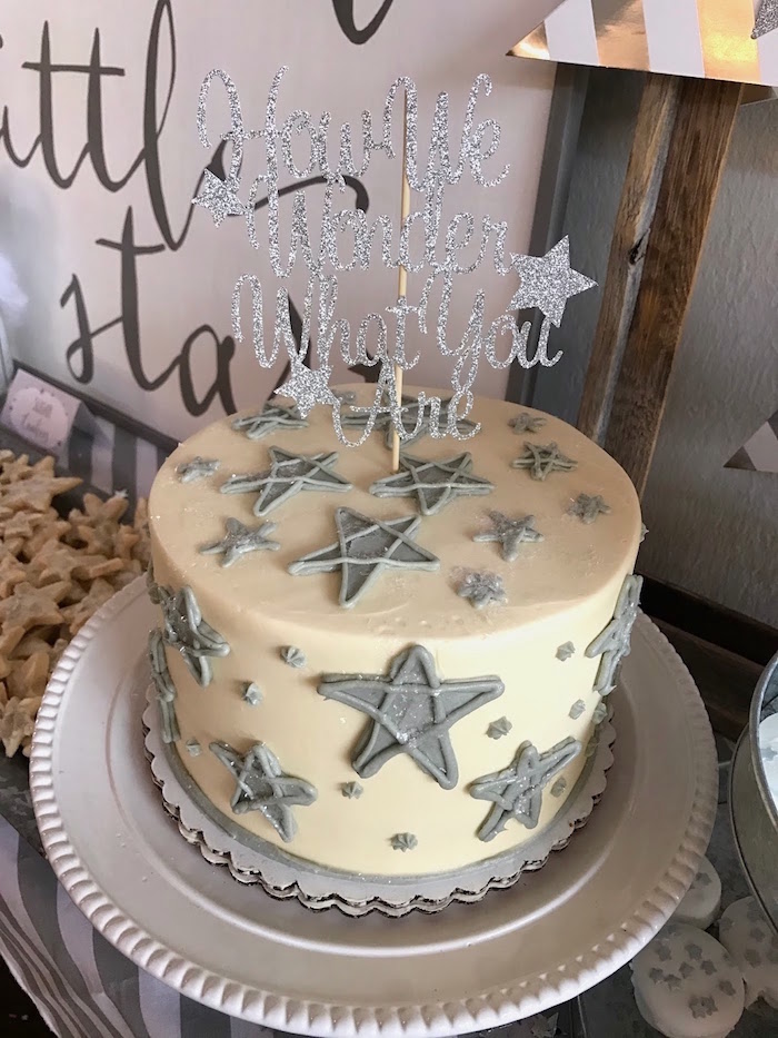 Star cake from a Rustic Twinkle Star Gender Reveal Baby Shower on KARA'S PARTY IDEAS | KarasPartyIdeas.com (48)