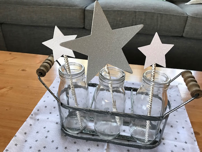 Star bottle centerpiece from a Rustic Twinkle Star Gender Reveal Baby Shower on KARA'S PARTY IDEAS | KarasPartyIdeas.com (26)