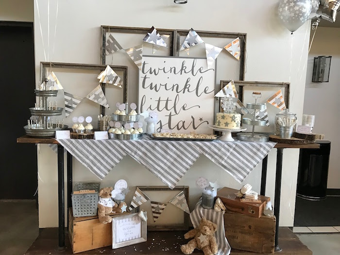 Dessert table from a Rustic Twinkle Star Gender Reveal Baby Shower on KARA'S PARTY IDEAS | KarasPartyIdeas.com (47)