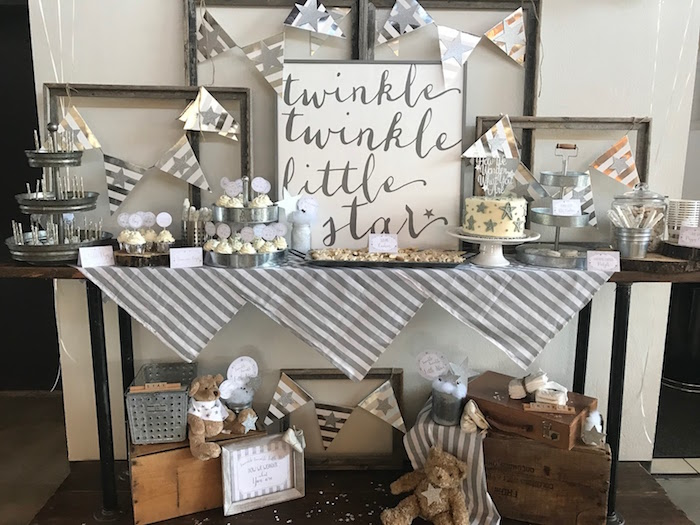 Dessert table from a Rustic Twinkle Star Gender Reveal Baby Shower on KARA'S PARTY IDEAS | KarasPartyIdeas.com (16)