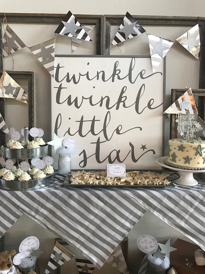 Kara 39 s party ideas rustic twinkle star gender reveal baby for Baby clothesline decoration baby shower