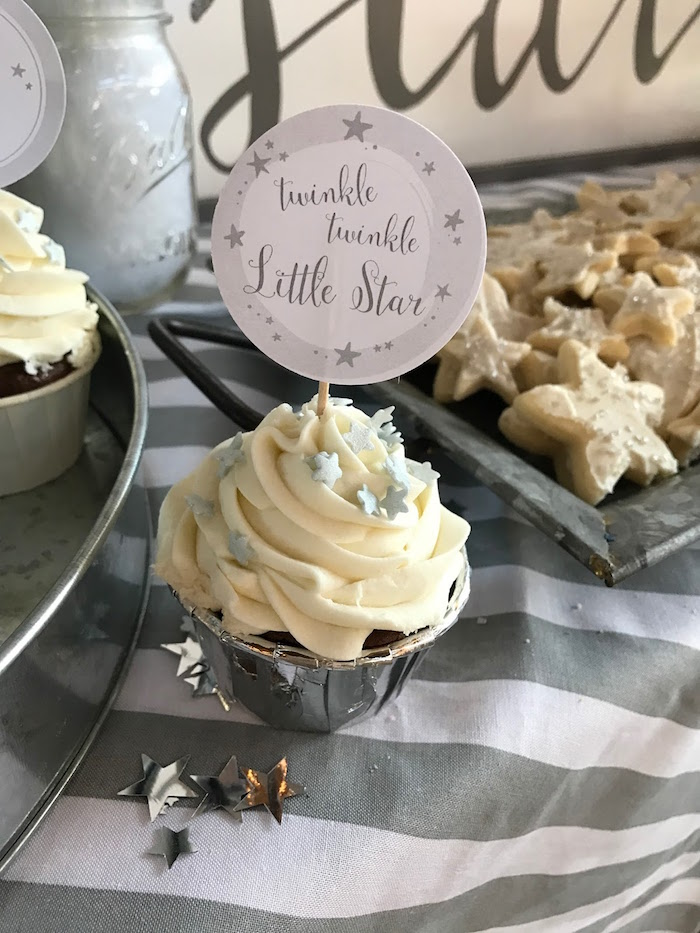Star cupcake from a Rustic Twinkle Star Gender Reveal Baby Shower on KARA'S PARTY IDEAS | KarasPartyIdeas.com (42)