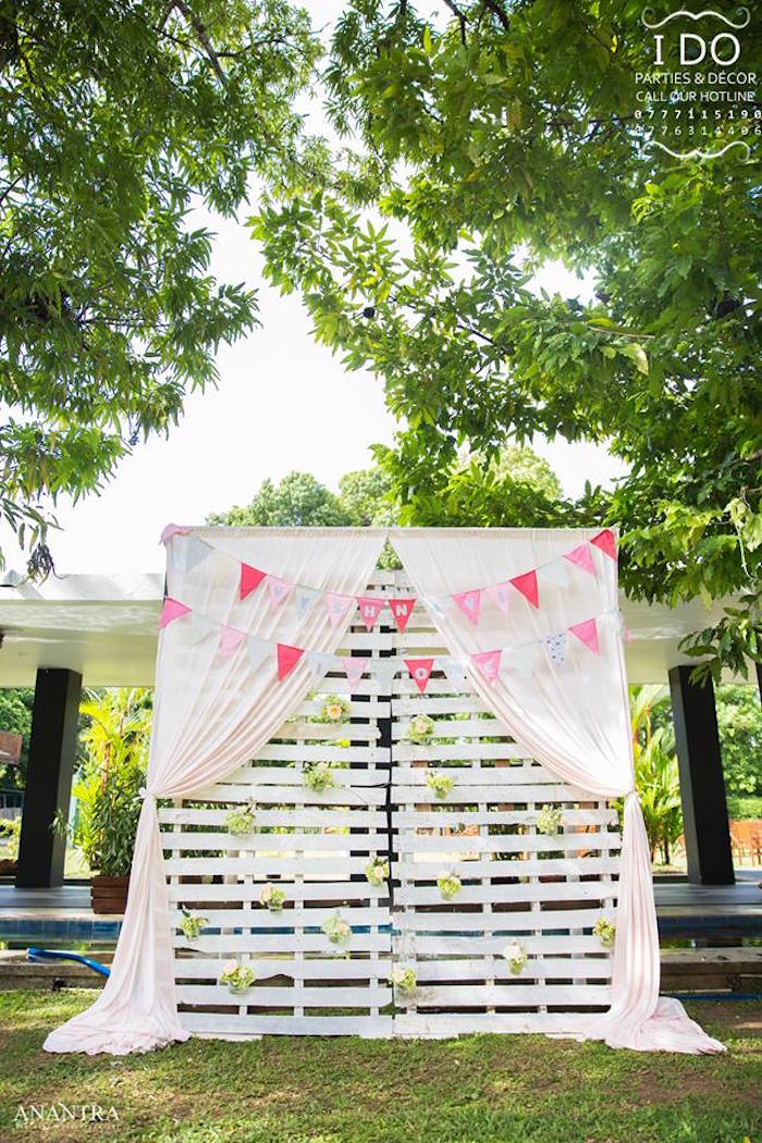 Wood slat photo wall from a Secret Garden Birthday Party on Kara's Party Ideas   KarasPartyIdeas.com (24)