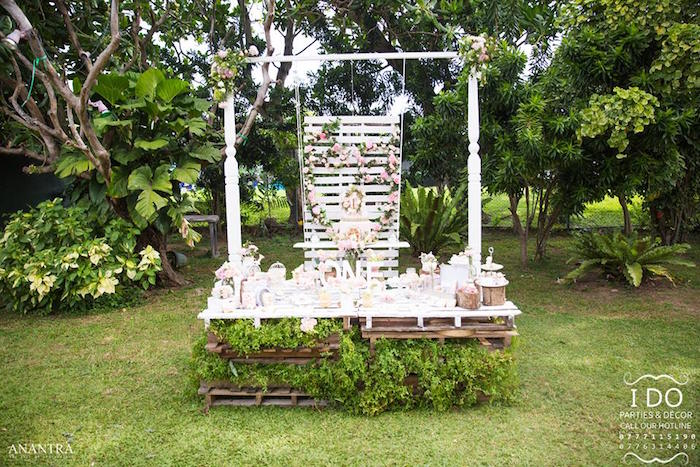Pallet board dessert table from a Secret Garden Birthday Party on Kara's Party Ideas   KarasPartyIdeas.com (21)