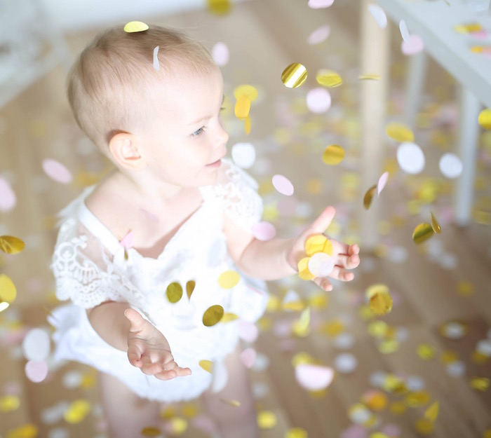 Confetti from a Shabby Chic Little Angel Birthday Party on Kara's Party Ideas | KarasPartyIdeas.com (4)