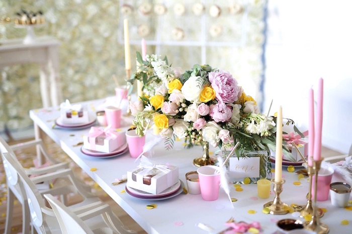 Guest table from a Shabby Chic Little Angel Birthday Party on Kara's Party Ideas | KarasPartyIdeas.com (2)