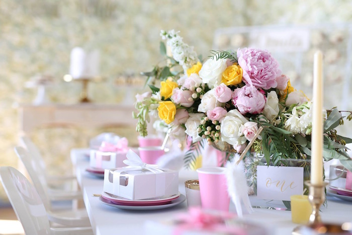 Guest tablescape from a Shabby Chic Little Angel Birthday Party on Kara's Party Ideas | KarasPartyIdeas.com (19)