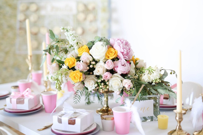 Floral centerpiece from a Shabby Chic Little Angel Birthday Party on Kara's Party Ideas | KarasPartyIdeas.com (18)