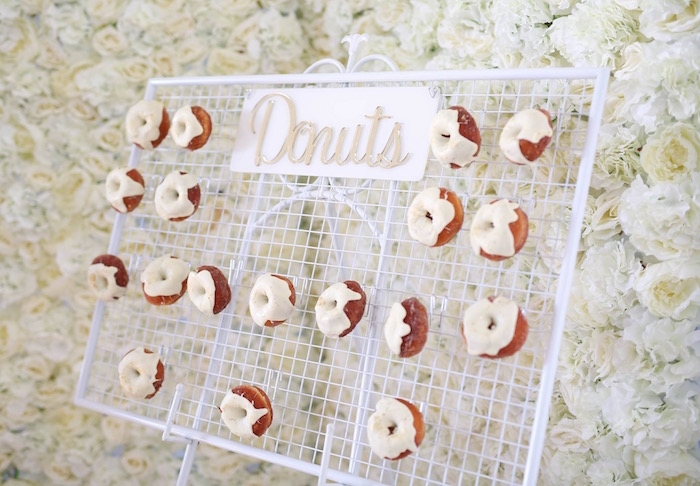 Wire donut board from a Shabby Chic Little Angel Birthday Party on Kara's Party Ideas | KarasPartyIdeas.com (16)