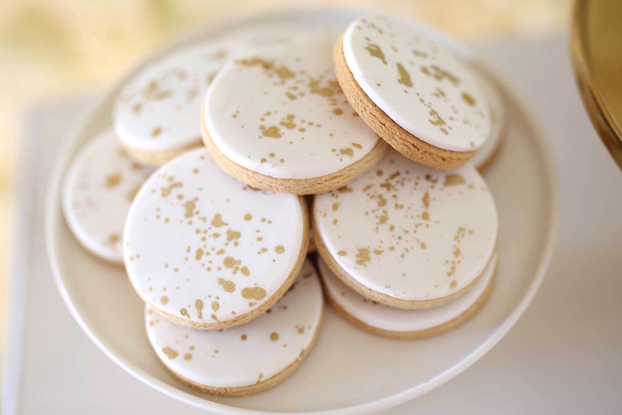 Gold splatter cookies from a Shabby Chic Little Angel Birthday Party on Kara's Party Ideas | KarasPartyIdeas.com (15)