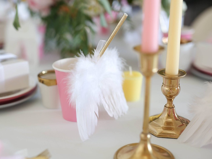 Winged cup from a Shabby Chic Little Angel Birthday Party on Kara's Party Ideas | KarasPartyIdeas.com (13)