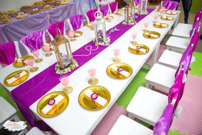 Guest table from a Sofia the First Birthday Party on Kara's Party Ideas   KarasPartyIdeas.com (4)