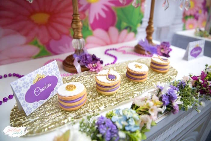 Stacked Sofia the First Cookies from a Sofia the First Birthday Party on Kara's Party Ideas   KarasPartyIdeas.com (11)