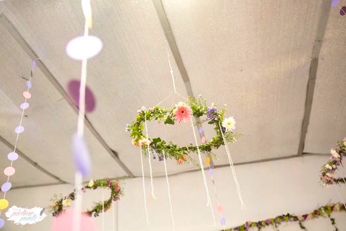 Flower chandelier from a Sofia the First Birthday Party on Kara's Party Ideas   KarasPartyIdeas.com (8)