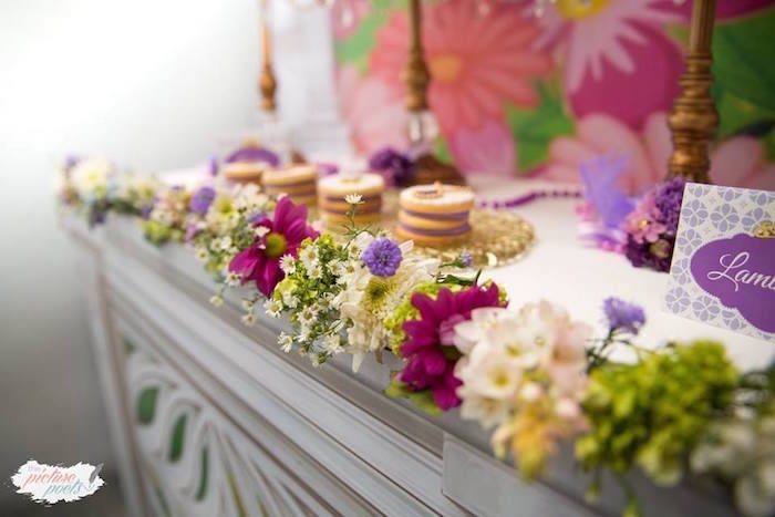 Flower garland from a Sofia the First Birthday Party on Kara's Party Ideas   KarasPartyIdeas.com (5)